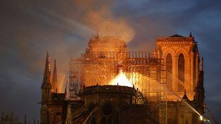 Notre-Dame de Paris ravagée par les flammes, le 15 avril 2019. (FRANCOIS GUILLOT / AFP)