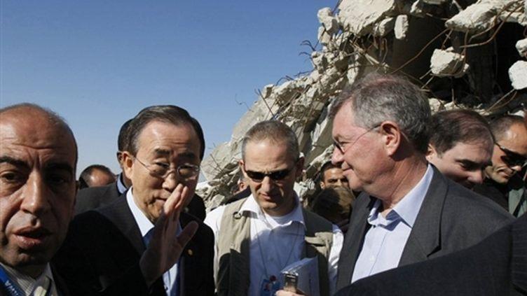 Le secrétaire général de l'Onu, Ban Ki-Moon, le 21 mars 2010 à Gaza. (AFP/MOHAMMED ABED)