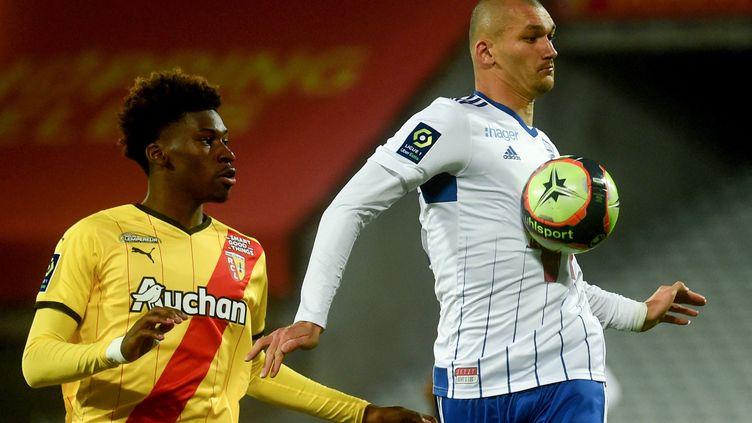 Ludovic Ajorque a ouvert le score face à Lens mercredi 22 septembre lors de la 7e journée de Ligue 1. (FRANCOIS LO PRESTI / AFP)