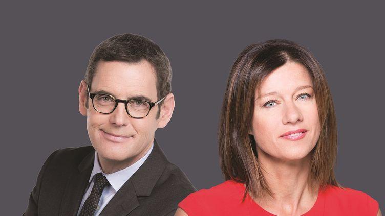 Francis Letellier et Carole Gaessler. (© Nathalie GUYON /Delphine GHOSAROSSIAN/FTV)