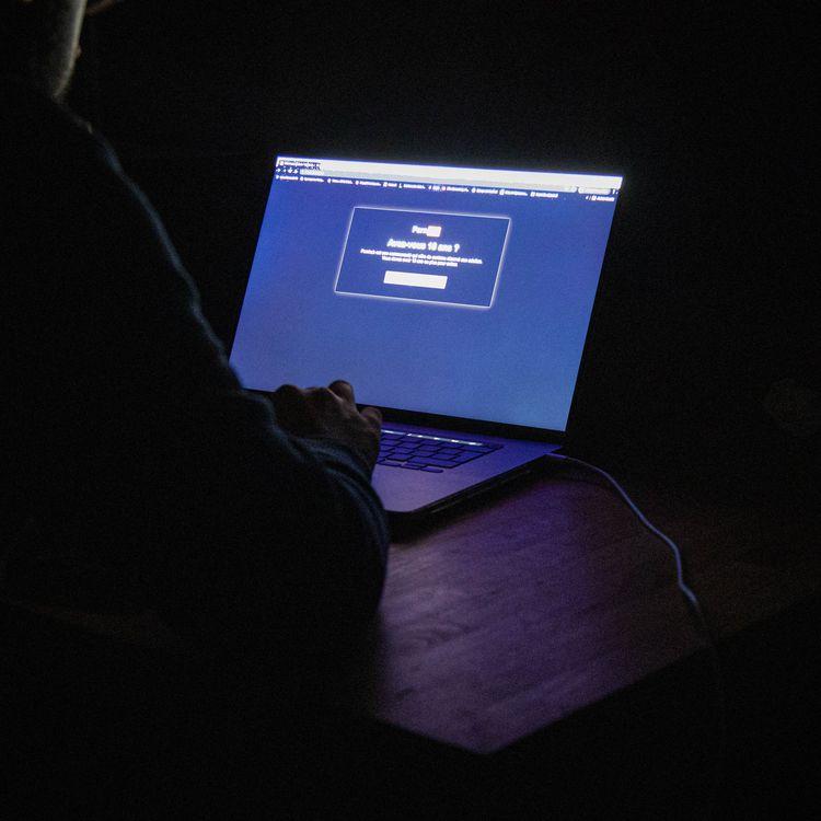 Un internaute face au messaged'un site pornographique avertissant de son interdiction aux mineurs. (Photo d'illustration) (STEPHANE DUPRAT / AFP)