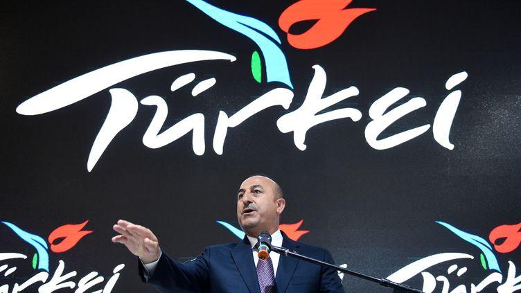 Le ministre de Affaires étrangères turc Mevlut Cavusoglu, lors d'une foire du tourisme, à Berlin (Allemagne), le 8 mars 2017. (RAINER JENSEN / DPA / AFP)