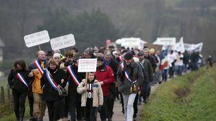 Des partisans du projet de complexe touristique Center Parcs défilent à Roybon (Isère), le 7 décembre 2014. (PHILIPPE DESMAZES / AFP)