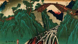 Keisa Eisen (1790-1848). Le relais de la route du Kisoji. Relais N°41 : Vue du pont de la rivière Inagawa. 1835-1838. Xylogravure polychrome. (FUNDAJCA JERZEGO LESKOWICZA - AVEC L'AIMABLE AUTORISATION DU MUSEE CERNUSCHI)