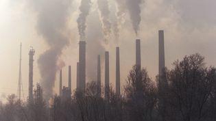 Des cheminées d'usines dans la région de Lyon. (GERARD MALIE / AFP)