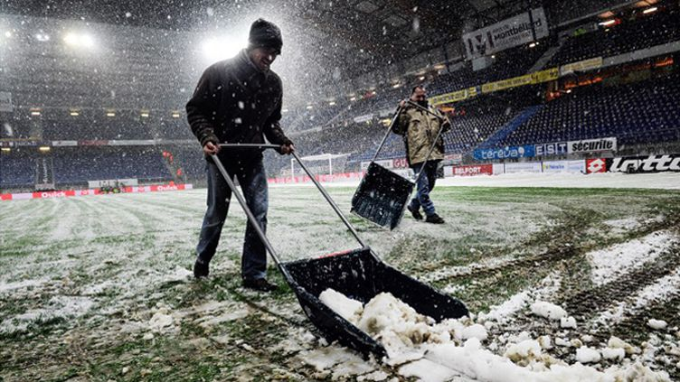 Le Stade Bonal sous la neige ce week-end.