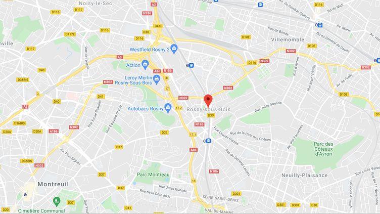 Rosny-sous-Bois (Seine-Saint-Denis). (CAPTURE ECRAN GOOGLE MAPS)
