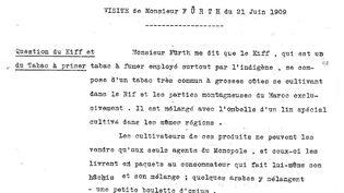 Extraitd'un compte rendu de visite pour l'achat du monopole du tabac et du kif au Maroc par un délégué de la Banque de Paris et des Pays-Bas. (Avec l'aimable autorisation de M. Yann Bisiou / Archives Paribas)