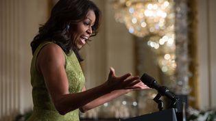 Michelle Obama lors d'une conférence de presse à la Maison Blanche, à Washington (Etats-Unis), le 2 décembre 2015. (NICHOLAS KAMM / AFP)