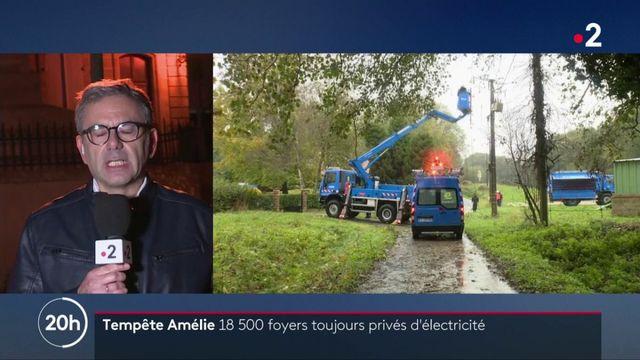 Tempête Amélie : 18 000 foyers toujours privés d'électricité