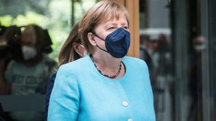 La chancelière allemande Angela Merkel, le 22 juillet 2021 à Berlin. (STEFANIE LOOS / AFP)