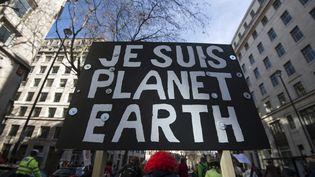 """Un manifestant brandit une pancarte """"Je suis la planète Terre"""", lors d'une marche pour le climat, le 7 mars 2015 à Londres (Royaume-Uni). (NIKLAS HALLE'N / AFP)"""