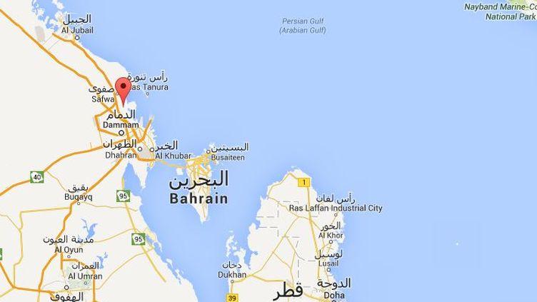 Caputre d'écran Google Maps pointant sur Qatif (Arabie Soudite). ( GOOGLE MAPS / FRANCETV INFO )
