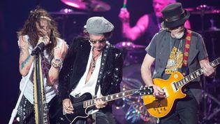 Steven Tyler, Joe Perry et Brad Whitford d'Aerosmith sur scène à Mexico, le 27 octobre 2016  (Carlos Tischler / REX / Shutterstock / SIPA)