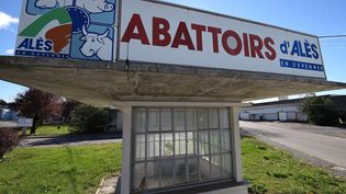 L'entrée de l'abattoir d'Alès (Gard), le 15 octobre 2015. (PASCAL GUYOT / AFP)