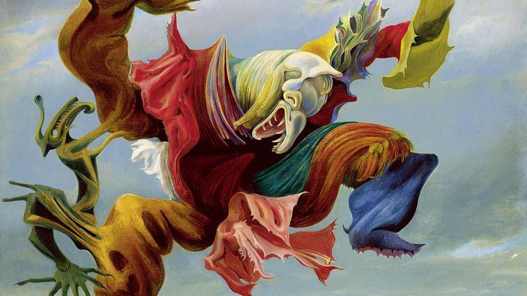 """Max Ernst, """"L'Ange du foyer (Le triomphe du surréalisme)"""", 1937. Huile sur toile, 114 × 146 cm. Collection privée. (2013, PROLITTERIS, ZURICH)"""