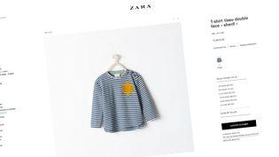 Capture d'écran du site de Zara montrant le tee-shirt incriminé avant qu'il soit retiré de la vente, mercredi 27 août 2014. (ZARA / FRANCETV INFO)