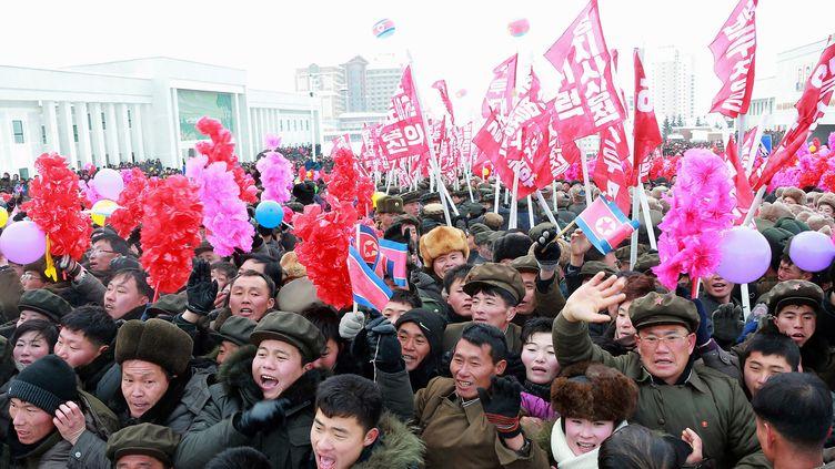 Des Nord-Coréens lors de l'inauguration de la ville de Samjiyon, en Corée du Nord, le 2 décembre 2019, selon les médias officiels de Corée du Nord. (AFP)