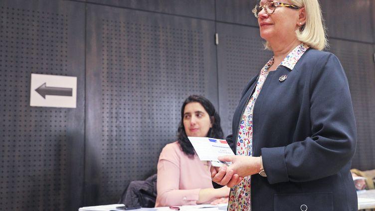 Michèle Lutz, à Mulhouse, le 15 mars 2020. (DAREK SZUSTER / MAXPPP)