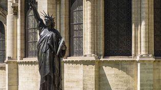 Une copie réduite de la statue de la Liberté, au musée des Arts et métiers à Paris le 9 juillet 2019 (BERTRAND GARDEL / HEMIS.FR VIA AFP)