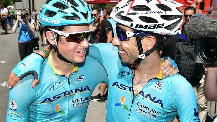 Jakob Fuglsang et Fabio Aru vont-ils s'entendre ? (PHILIPPE LOPEZ / AFP)