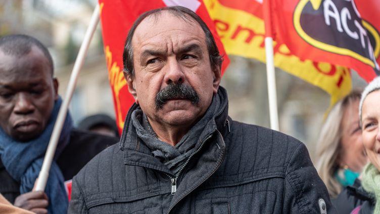 Le secrétaire général de la CGT, Philippe Martinez, lors d'une manifestation contre le projet de réforme des retraites, le 10 décembre 2019 à Paris. (SAMUEL BOIVIN / NURPHOTO / AFP)