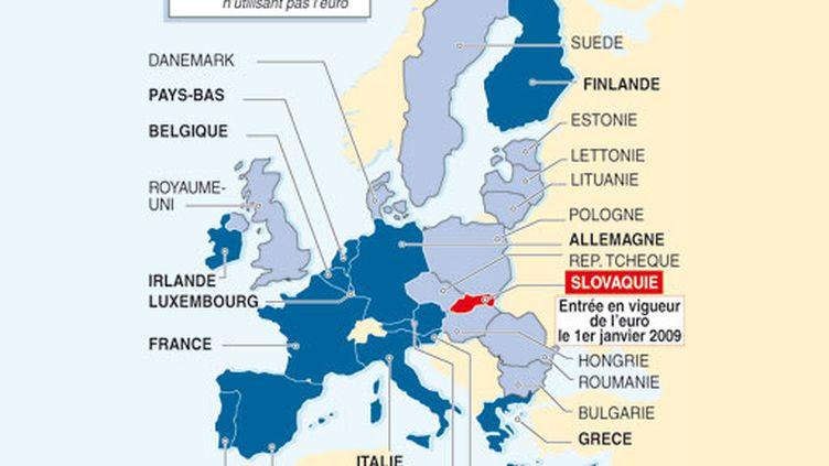 Carte des pays de la zone euro et de l'Union européenne (AFP)