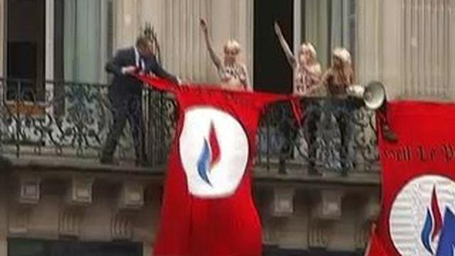 Des Femen interrompent le discours de Marine Le Pen