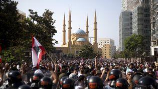 Des manifestants dans le centre de Beyrouth (Liban), samedi 6 juin 2020. (PATRICK BAZ / AFP)