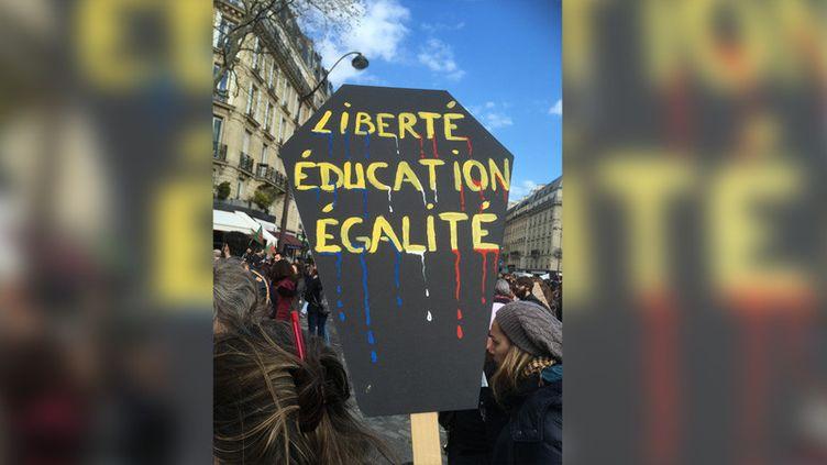 A Paris, 17 500 fonctionnaires ont manifesté à l'appel de la CGT et de Force ouvrière, mardi 19 mars. (RAPHAËL EBENSTEIN / RADIO FRANCE)