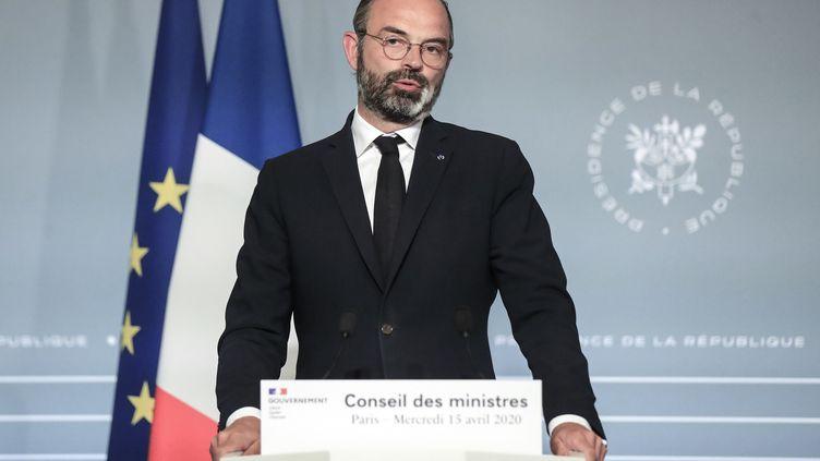 Le Premier ministre, Edouard Philippe, le 15 avril 2020 à l'Elysée. (MICHEL EULER / AFP)