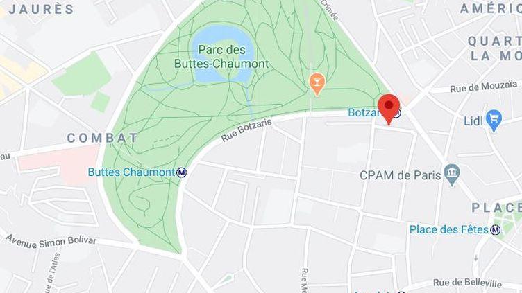 Capture d'écran montrant la situation géographique de larue de l'Encheval, dans le 19e arrondissementde Paris. (GOOGLE MAPS)