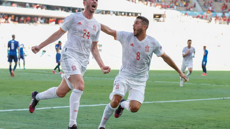 Aymeric Laporte a marqué contre la Slovaquie, le 23 juin 2021. (MARCELO DEL POZO / POOL)