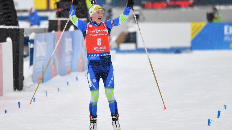 Darya Domracheva s'impose à Oslo (ALBERTO PIZZOLI / AFP)