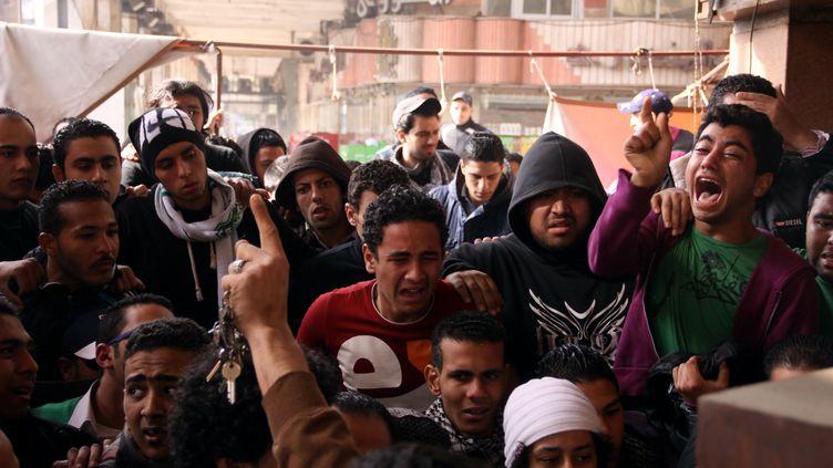 Des Egyptiens de Port-Said, après le verdict dans le procès des émeutes de 2012, samedi 26 janvier 2013. ( AFP)