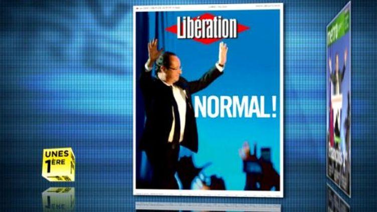 """La une de """"Libération"""" présentée dans la revue de presse de La 1ère, le 7 mai 2012. (FTVI / LA 1ERE)"""