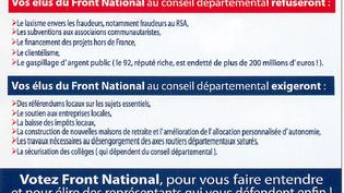 """Le tract du Front national évoquant """"les subventions aux associations communautaristes"""", pour les élections départementales, le 11 mars 2015. (FRONT NATIONAL 92)"""