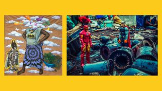 "A gauche,Hilaire Balu Kuyangiko, dit Hilary Balu, Transe communication, 2018 - A droite,Nelson Makengo, Epaka, série ""Théâtre urbain"", 2016 (A gauche © Hilary Balu - photo © Pierre Schwartz - A droite © Nelson Makengo)"