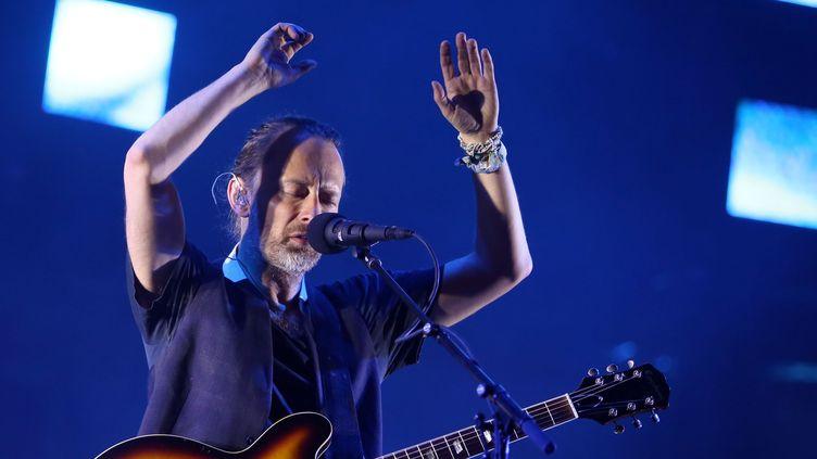 Thom Yorke sur scène avec Radiohead à Lisbonne le 8 juillet 2016.  (Pedro Fiuza / NurPhoto / AFP)