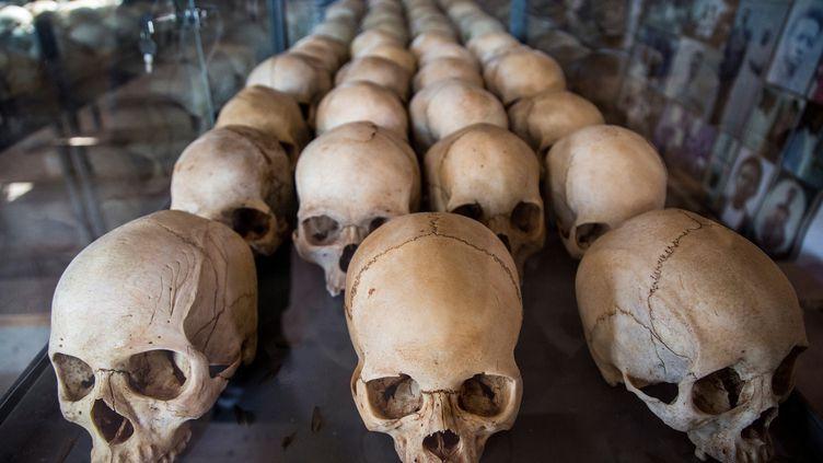 Cette photo prise le 22 mars 2019 montre des crânes de victimes du génocide rwandais de 1994 au Mémorial du génocide de Ntarama, à Kigali. (JACQUES NKINZINGABO / AFP)