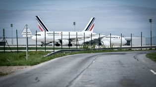 Des avions de la compagnie Air France, le 24 avril 2018, à l'aéroport de Roissy-Charles-de-Gaulle. (STEPHANE DE SAKUTIN / AFP)