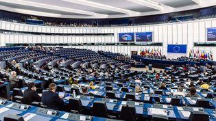 Le président de la Commission européenne, Jean-Claude Juncker, prononce un discours devant le Parlement européen, à Strasbourg (Bas-Rhin), le 18 septembre 2019. (CHRISTOPH DE BARRY / HANS LUCAS / AFP)
