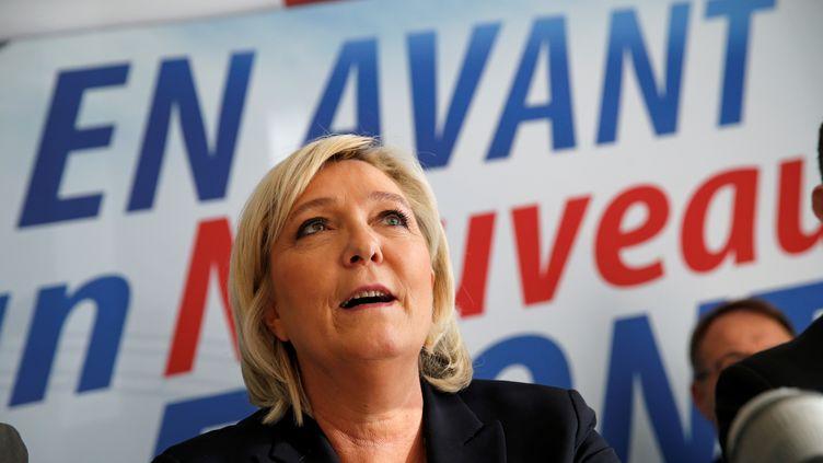 Marine Le Pen lors d'une conférence de presse à Laon (Aisne), le 18 février 2018. (PASCAL ROSSIGNOL / REUTERS)