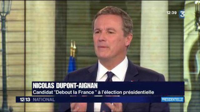 "Nicolas Dupont-Aignan : la droiture, ""ma marque de fabrique"""