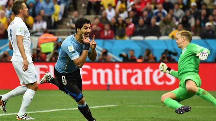 Luis Suarez fête son but sous les yeux de Joe Hart et Phil Jagielka