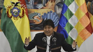 L'ancien président bolivien, Evo Morales, le 23 octobre 2019 à La Paz (Bolivie). (AIZAR RALDES / AFP)