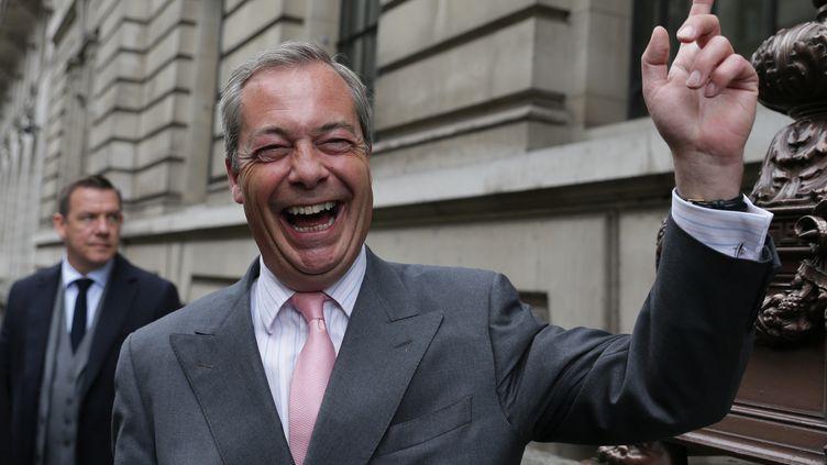 L'ancien leader du Ukip, Nigel Farage, le 3 juin 2016 à Londres (Royaume-Uni). (DANIEL LEAL-OLIVAS / AFP)
