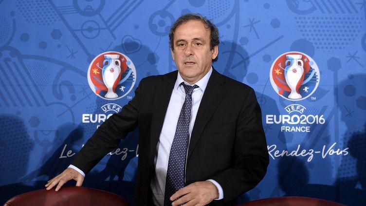 Le président de l'UEFA, Michel Platini, lors ducomité de pilotage de l'Euro 2016 à Paris, le 27 avril 2014. (FRANCK FIFE / AFP)