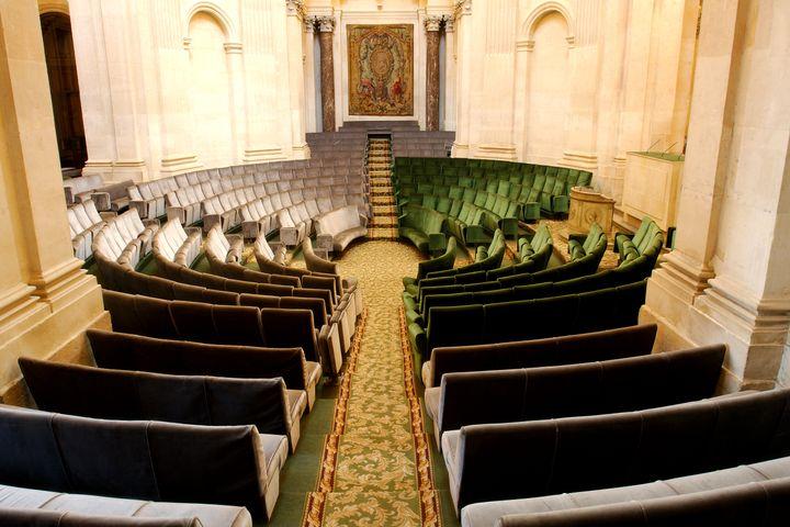 """Dans l'hémicyclede l'Académie française, les fauteils verts sont réservés aux """"Immortels"""", les fauteuils ocre sont pour le public. (ANTOINE LORGNIER / ONLY FRANCE)"""