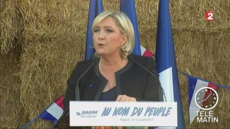 Marine Le Pen en meeting à Pageas. (FRANCE 2)
